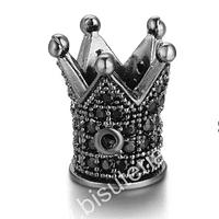 separador strass negro en forma de corona, 12,5 x 10 mm por unidad