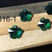 Cristal verde en forma flor, 12 mm, set de 4 unidades (no incluye valier)