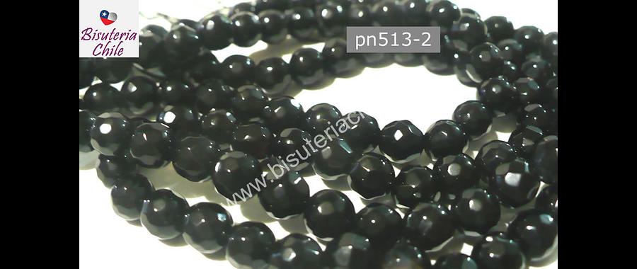 Agata facetada 8 mm color negro, tira de 48 piedras