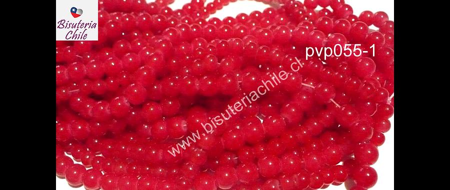 Perla de vidrio rojo transparente, 8 mm, tira de 54 unidades