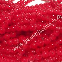 Perla de vidrio rojo, trasparente 6 mm, tira de 140 unidades