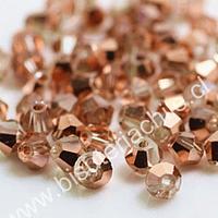 Cristal tupí facetado de 4 mm, en color tornasol cobre, set de 100 unidades aprox