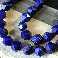Lapislázuli hexagonal de 8 mm, tira de 22 piedras