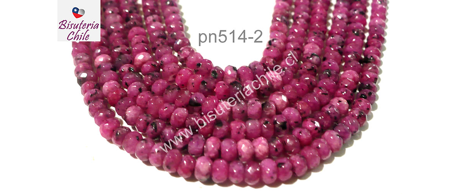 Piedra agata de 4 mm en forma de abaco, multicolr en tonos rosados, tira de 130 piedras aprox