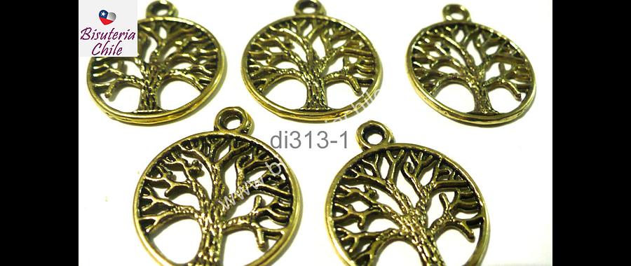 Dije dorado envejecido en forma de arbol de la vida, 19 mm de diámetro, set de 5 unidades