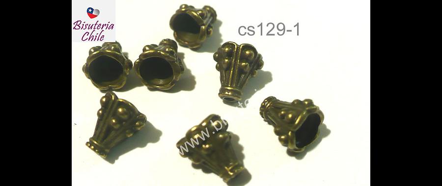 Casquete envejecido 10 mm de largo pr 8 mm de ancho, set de 7  unidades