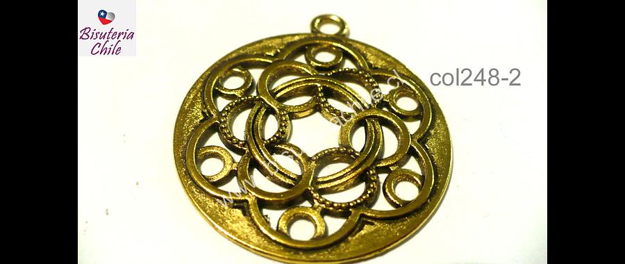 Colgante dorado, estilo mandala, 37 mm de diámetro, por unidad