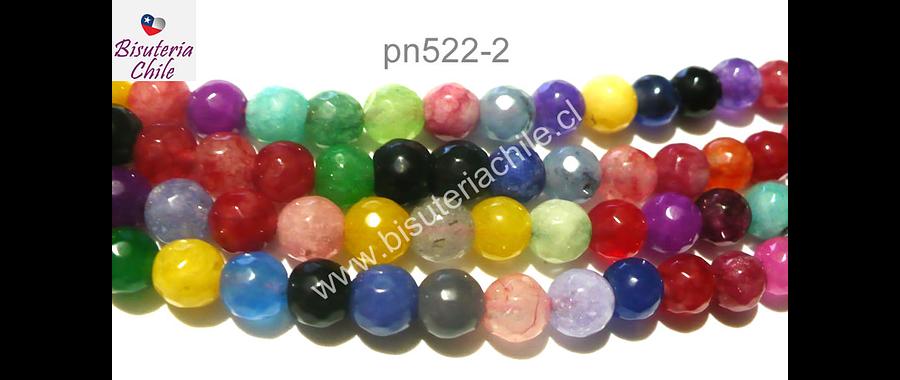 agata de 6 mm multicolos, amarillo verde rojo, tira de 61 piedras aprox