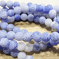 Ágata frosting 6 mm en tono baby blue, tira de 63 piedras aprox
