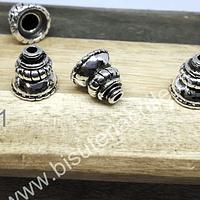 casquete plateado, 10 mm de largo x 10 mm de ancho, set de 6 unidades
