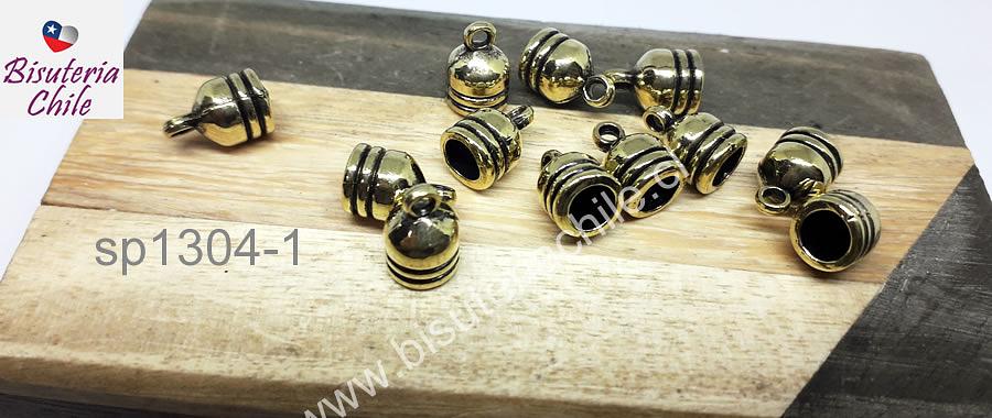Terminal dorado con argolla de enganche 7 mm de largo, 7 mm de ancho y agujero de 5 mm set de 12 unidades