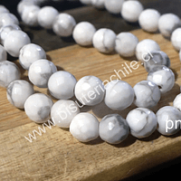 Howlita blanca facetada de 6 mm, tira de 64 piedras aprox.