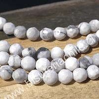 Howlita facetada de 4 mm, tira de 85 piedras aprox.