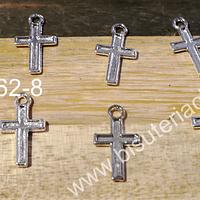 Dije plateado en forma de cruz, 15 mm x 8 mm, set de 20 unidades