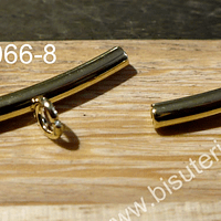 Separador con argolla para dije baño de oro, 30 mm x 4 mm, agujero de 3 mm, por par