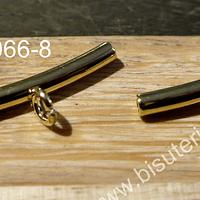 Separador con argolla para dije baño de oro, 24 mm x 4 mm, agujero de 3 mm, por par