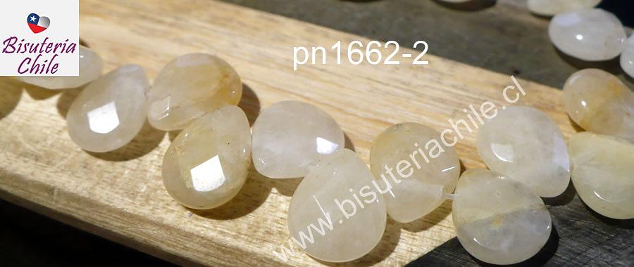 Jade amarillo tipo gota facetada de 13 x 11 mm, tira de 15 piedras