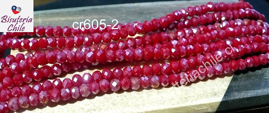 Cristal facetado tornasol color rojo de 4 mm, tira de 145 cristales