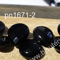 Agata negra tipo gota facetada de 13 x 11 mm, tira de 15 piedras