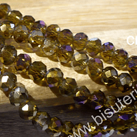 Cristal facetado tornasol color ocre con tonalidades lilas de 4 mm, tira de 145 cristales