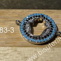 dije doble conexión, con strass y baño de plata, alta calidad, 15 mm de diámetro, por unidad, cadena se vende por separado