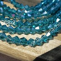 Cristal tupi 4 mm, color calipso transparente, tira de 115 cristales