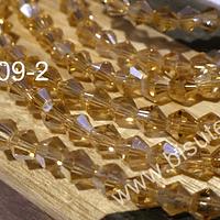 Cristal tupi 4 mm, color amarillo champagne, tira de 75 cristales aprox