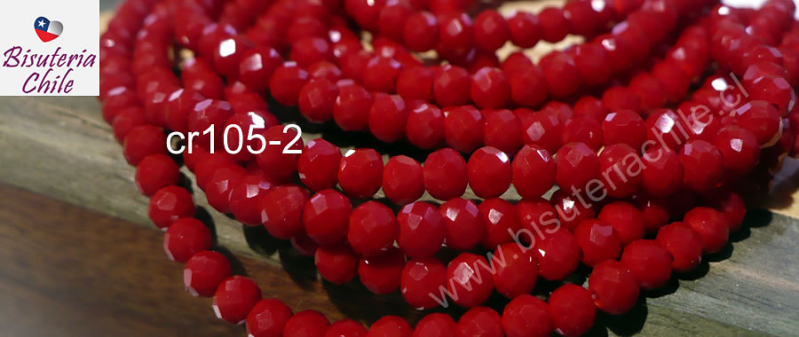 Cristal chino facetado de 4 mm color rojo, tira de 150 unidades aprox