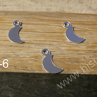 Dije baño de plata en forma de Luna, 7 x 4 mm, set de 3 unidades
