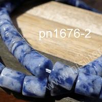 Sodalita en forma de tubo, 7 x 6 mm, tira de 25 piedras aprox.