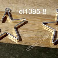 Dije en forma de estrella baño de plata, 20 x 20 mm, set de 2 unidades