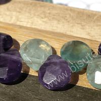 Fluorita tipo gota facetada de 13 x 11 mm, tira de 14 piedras