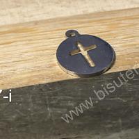 Dije cruz de acero, 13 mm de diámetro, por unidad