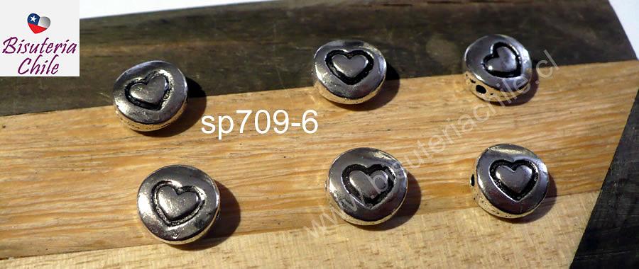Separador plateado con diseño corazón, 9 de diámetro, 4 mm de ancho, agujero de 1 mm, set de 6 unidades. San Valentin