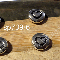 Separador plateado con diseño corazón, 9 de diámetro, 4 mm de ancho, agujero de 1 mm, set de 6 unidades