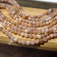 Peach moonstone facetada de 2,2 mm, tira de 160 piedras