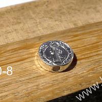 Separador San Benito, baño de plata, 9 x 3 mm, agujero de agujero de 2 mm, por unidad