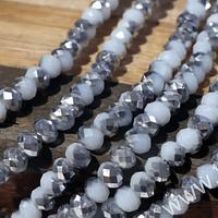 Cristal facetado blanco con plateado, tira de 145 cristales