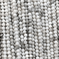 Piedras howlita blanca facetada de 2 mm, tira de 180 piedras aprox.
