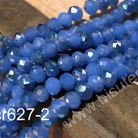 Cristal facetado 4 mm celeste con azul plateado, tira de 145 cristales