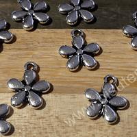 Dije plateado en forma de flor, 11 mm de diámetro, set de 12 unidades