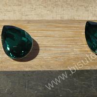 cristal verde esmeralda para soutache, 10 x 14 mm, set de 2 unidades