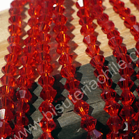 Cristal tupi 4 mm, color naranjo transparente, tira de 115 cristales