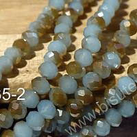 Cristal facetado de 6 mm, verde y naranjo, tira de 95 cristales aprox.