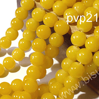 Perla de vidrio color amarillo 8 mm, tira de 100 unidades aprox