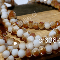 Cristal facetado tornasol crema y naranjo, tira de 94 cristales