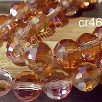 Cristal 10 mm facetado, primera calidad, color dorado anaranjado, tira de 20 unidades