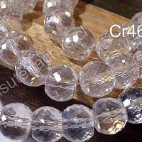 Cristal facetado de 10 mm, primera calidad, transparente tornasol, tira de 15 unidades