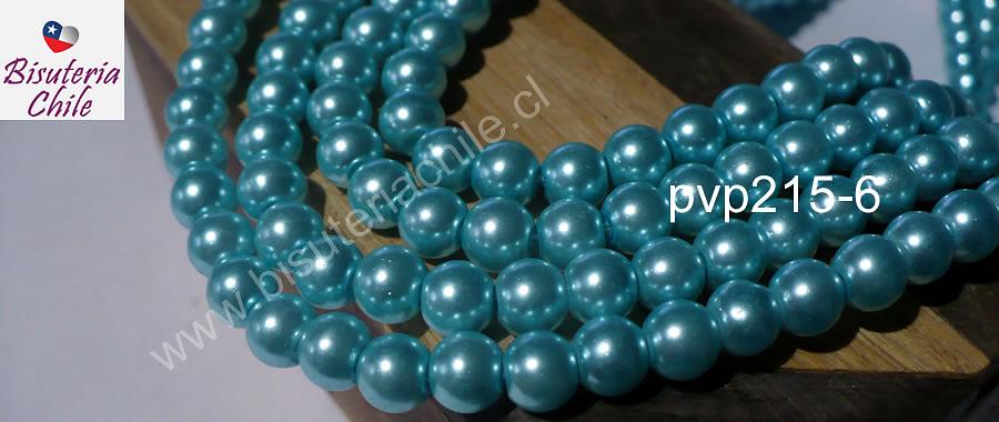 Perla Fantasía 8 mm, en color celeste, tira de 140 perlas aprox