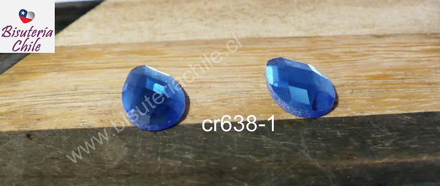 cristal celeste facetado con base plana para soutache, 10 x 14 mm, set de 2 unidades